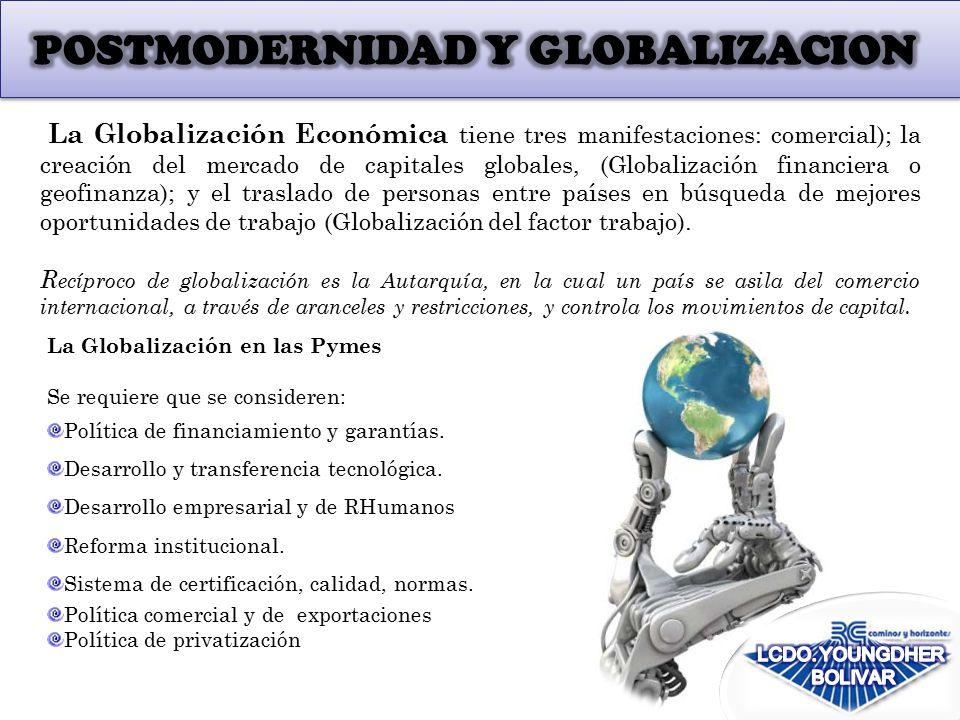 La Globalización en las Pymes Se requiere que se consideren: Política de financiamiento y garantías.