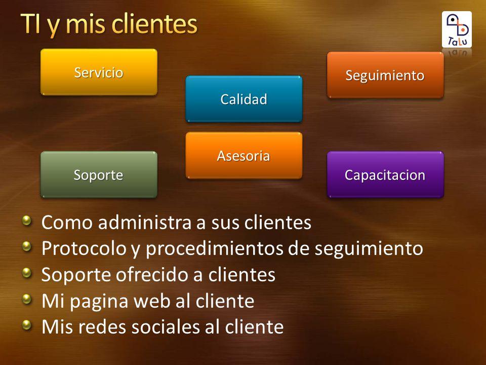 Como administra a sus clientes Protocolo y procedimientos de seguimiento Soporte ofrecido a clientes Mi pagina web al cliente Mis redes sociales al cl