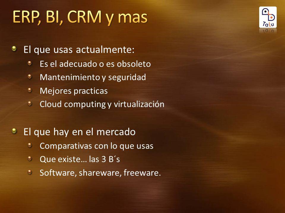 El que usas actualmente: Es el adecuado o es obsoleto Mantenimiento y seguridad Mejores practicas Cloud computing y virtualización El que hay en el mercado Comparativas con lo que usas Que existe… las 3 B´s Software, shareware, freeware.
