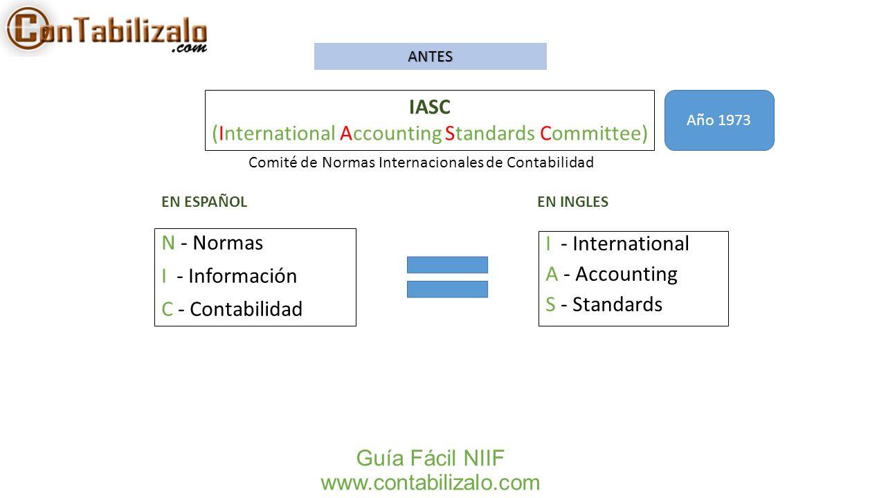Guía Fácil NIIF www.contabilizalo.com N - Normas I - Información C - Contabilidad IASC (International Accounting Standards Committee) I - Internationa