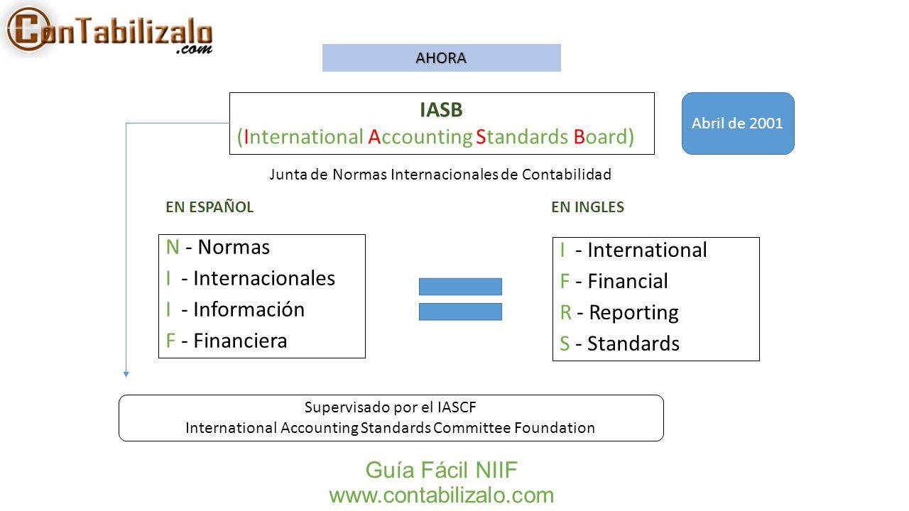Guía Fácil NIIF www.contabilizalo.com N - Normas I - Internacionales I - Información F - Financiera IASB (International Accounting Standards Board) I