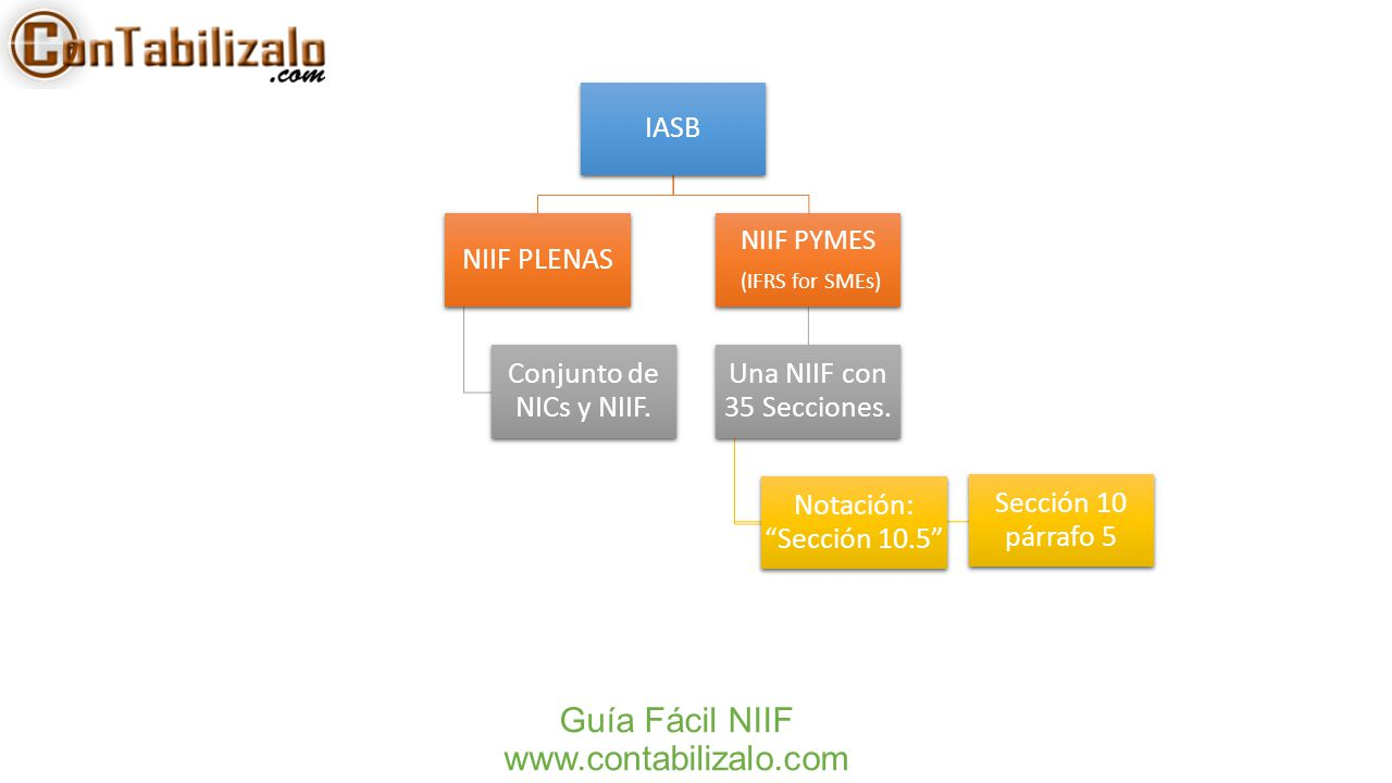 """Guía Fácil NIIF www.contabilizalo.com IASB NIIF PLENAS Conjunto de NICs y NIIF. NIIF PYMES (IFRS for SMEs) Una NIIF con 35 Secciones. Notación: """"Secci"""