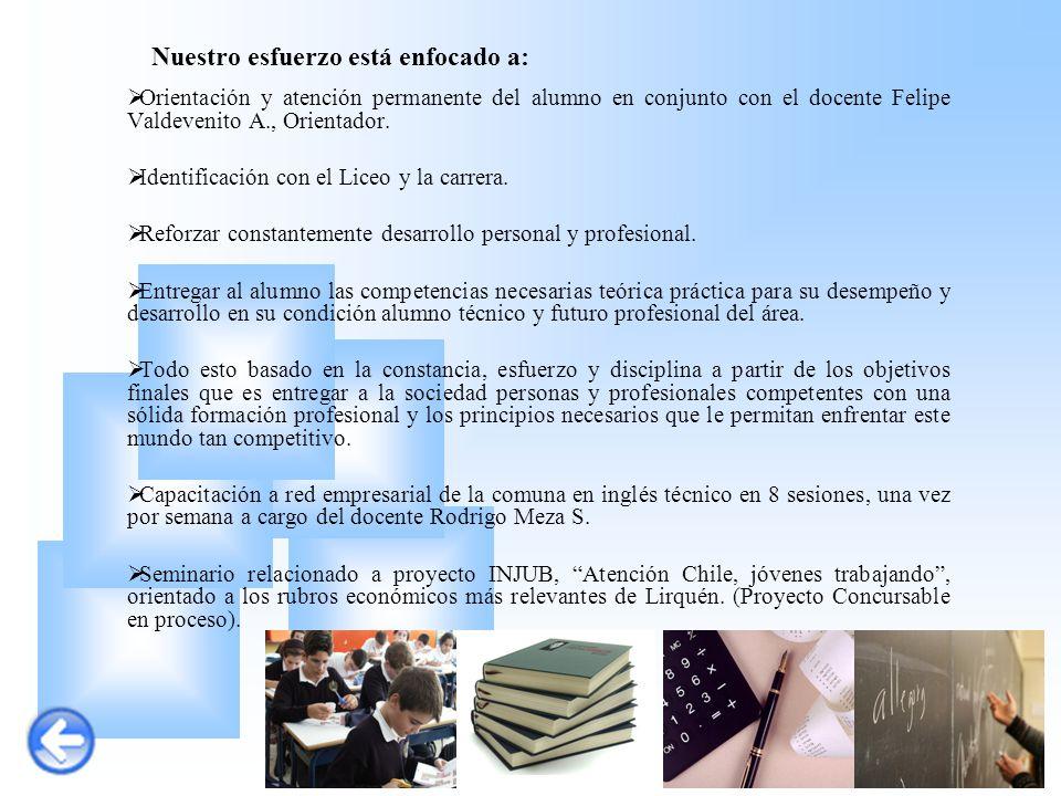 Nuestro esfuerzo está enfocado a:  Orientación y atención permanente del alumno en conjunto con el docente Felipe Valdevenito A., Orientador.  Ident