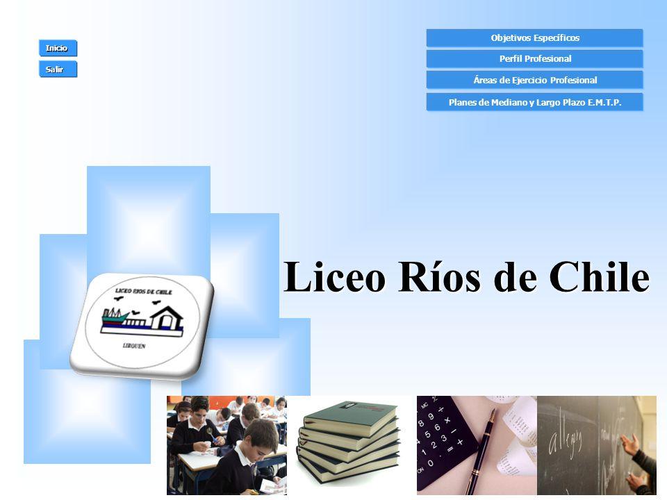 Objetivos Específicos Perfil Profesional Áreas de Ejercicio Profesional Inicio Salir Liceo Ríos de Chile Planes de Mediano y Largo Plazo E.M.T.P.