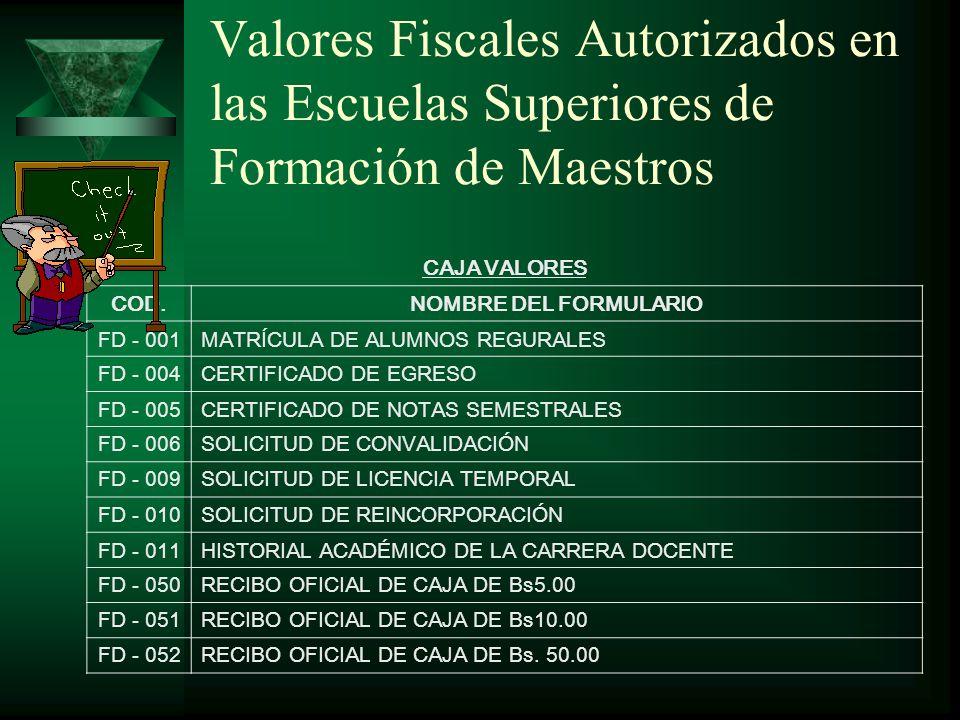 Administración, Custodía y Control de los Valores Fiscales en las E.S.F.M.