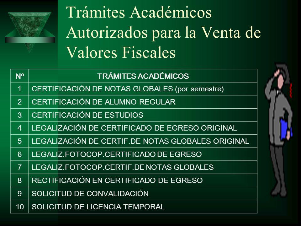 Trámites Académicos Autorizados para la Venta de Valores Fiscales NºTRÁMITES ACADÉMICOS 1CERTIFICACIÓN DE NOTAS GLOBALES (por semestre) 2CERTIFICACIÓN DE ALUMNO REGULAR 3CERTIFICACIÓN DE ESTUDIOS 4LEGALIZACIÓN DE CERTIFICADO DE EGRESO ORIGINAL 5LEGALIZACIÓN DE CERTIF.DE NOTAS GLOBALES ORIGINAL 6LEGALIZ.FOTOCOP.CERTIFICADO DE EGRESO 7LEGALIZ.FOTOCOP.CERTIF.DE NOTAS GLOBALES 8RECTIFICACIÓN EN CERTIFICADO DE EGRESO 9SOLICITUD DE CONVALIDACIÓN 10SOLICITUD DE LICENCIA TEMPORAL