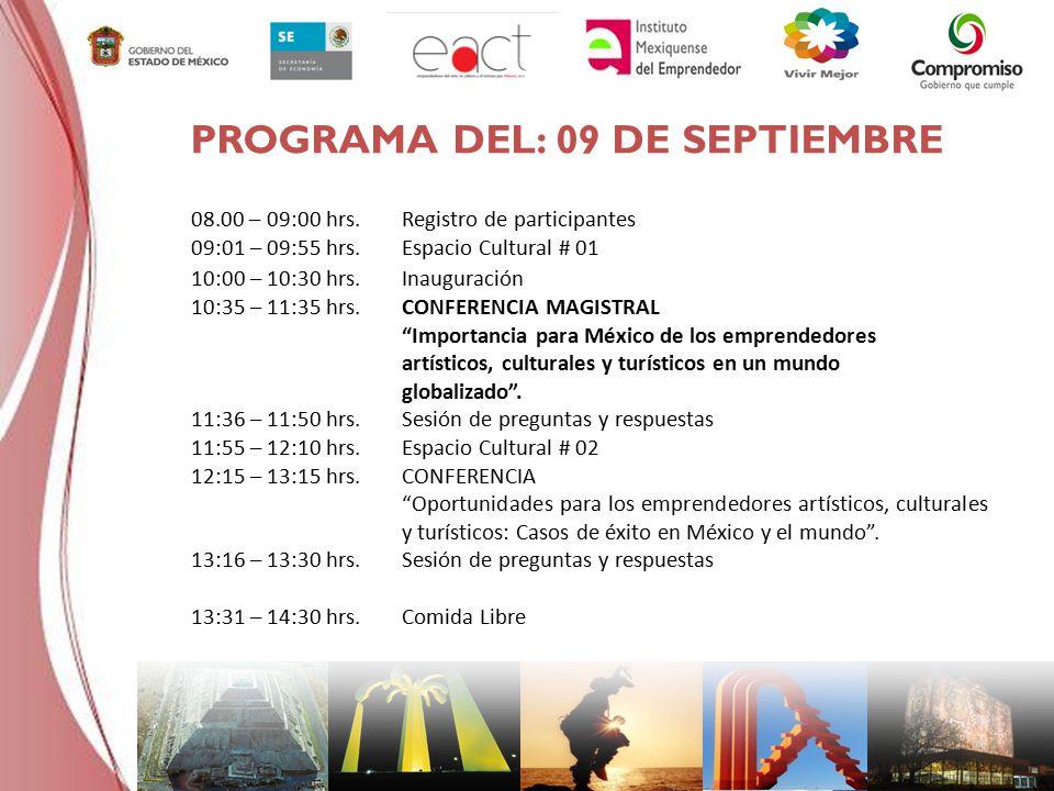 08.00 – 09:00 hrs.Registro de participantes 09:01 – 09:55 hrs.Espacio Cultural # 01 10:00 – 10:30 hrs.