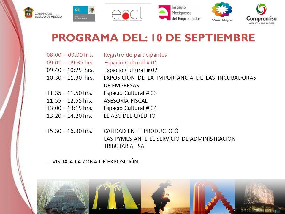 PROGRAMA DEL: 10 DE SEPTIEMBRE 08:00 – 09:00 hrs.Registro de participantes 09:01 – 09:35 hrs.