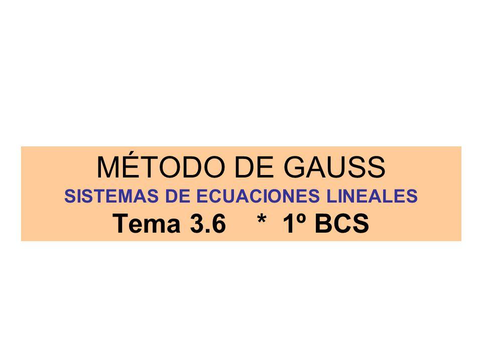 MÉTODO DE GAUSS SISTEMAS DE ECUACIONES LINEALES Tema 3.6 * 1º BCS