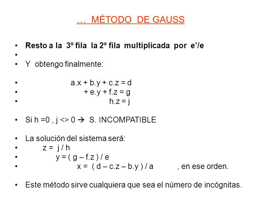 Resto a la 3º fila la 2º fila multiplicada por e'/e Y obtengo finalmente: a.x + b.y + c.z = d + e.y + f.z = g h.z = j Si h =0, j <> 0  S. INCOMPATIBL