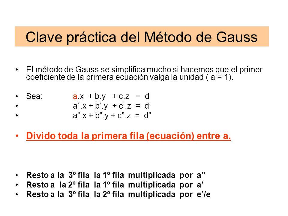 El método de Gauss se simplifica mucho si hacemos que el primer coeficiente de la primera ecuación valga la unidad ( a = 1). Sea:a.x + b.y + c.z = d a