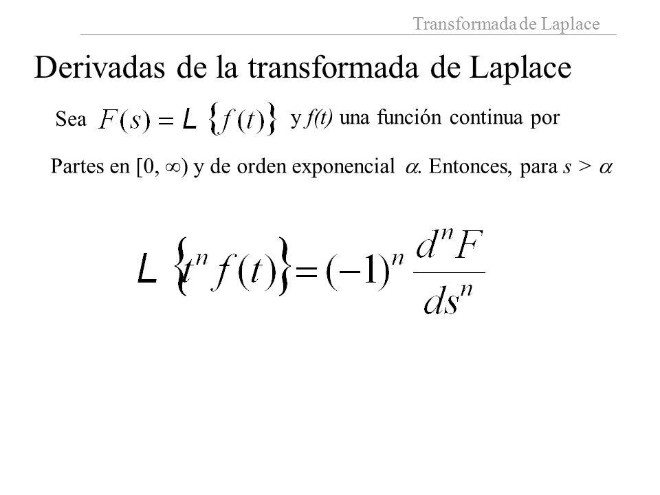 Transformada de Laplace Derivadas de la transformada de Laplace Sea y f(t) una función continua por Partes en [0,  ) y de orden exponencial .