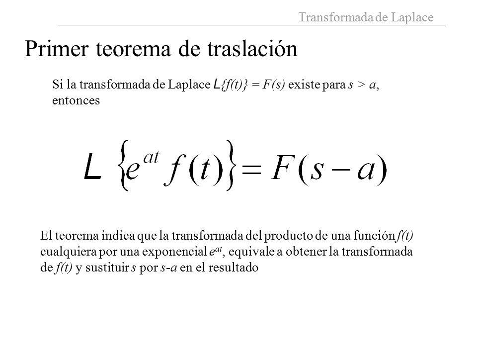 Transformada de Laplace Primer teorema de traslación Si la transformada de Laplace L {f(t)} = F(s) existe para s > a, entonces El teorema indica que la transformada del producto de una función f(t) cualquiera por una exponencial e at, equivale a obtener la transformada de f(t) y sustituir s por s-a en el resultado