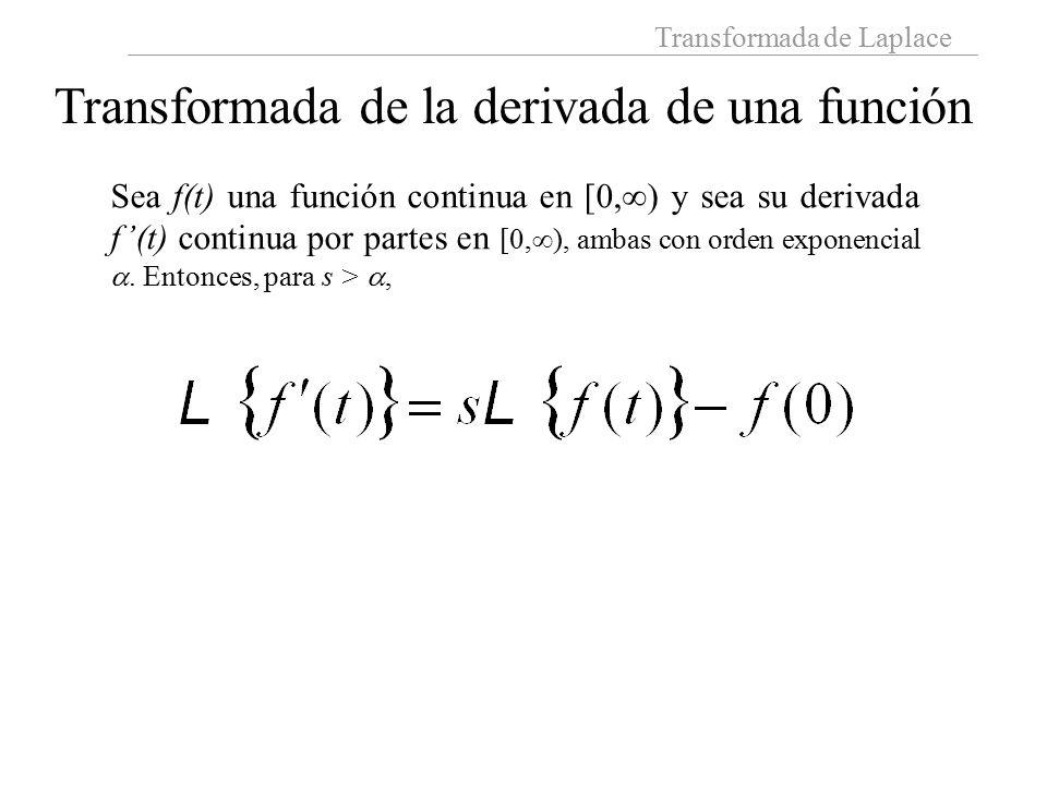 Transformada de Laplace Transformada de la derivada de una función Sea f(t) una función continua en [0,  ) y sea su derivada f'(t) continua por partes en [0,  ), ambas con orden exponencial .