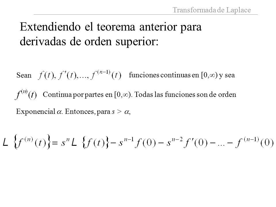 Transformada de Laplace Extendiendo el teorema anterior para derivadas de orden superior: Sean funciones continuas en [0,  ) y sea Continua por partes en [0,  ).