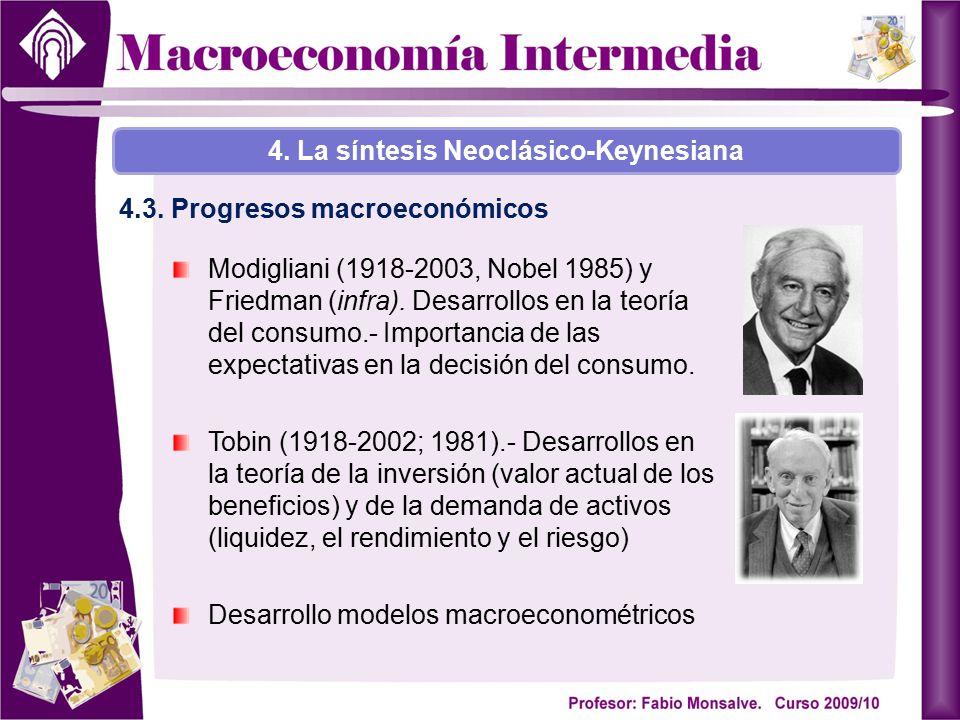 Modigliani (1918-2003, Nobel 1985) y Friedman (infra). Desarrollos en la teoría del consumo.- Importancia de las expectativas en la decisión del consu