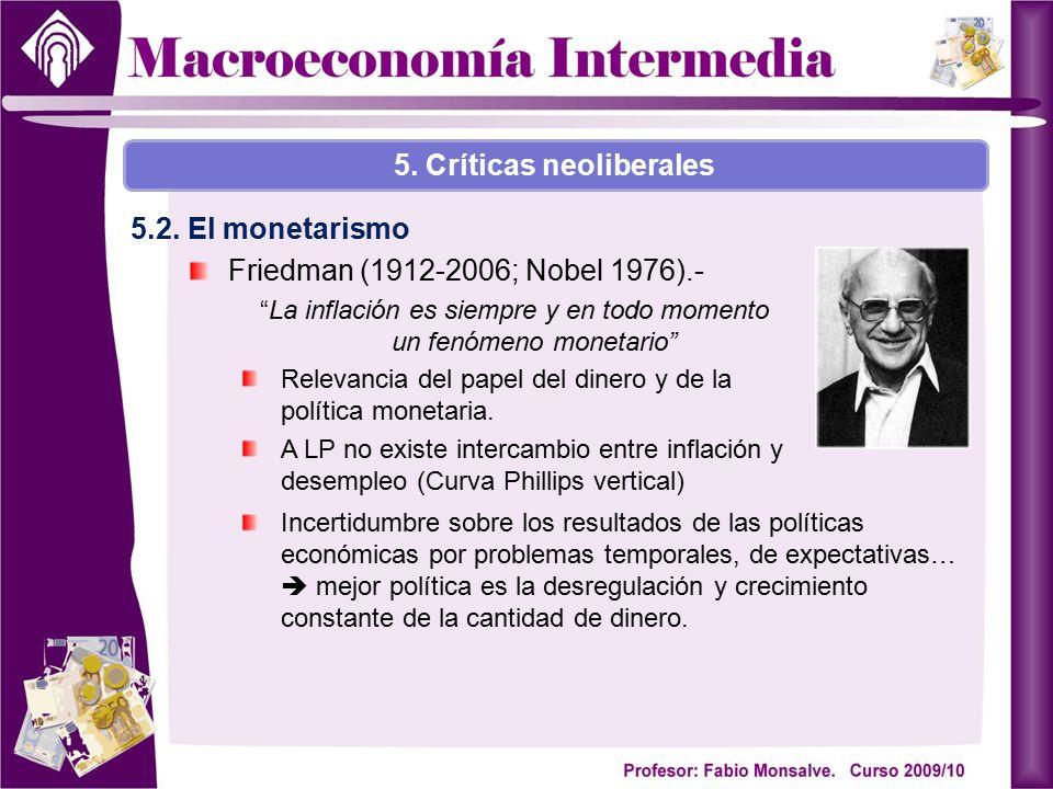 """Friedman (1912-2006; Nobel 1976).- """"La inflación es siempre y en todo momento un fenómeno monetario"""" Relevancia del papel del dinero y de la política"""