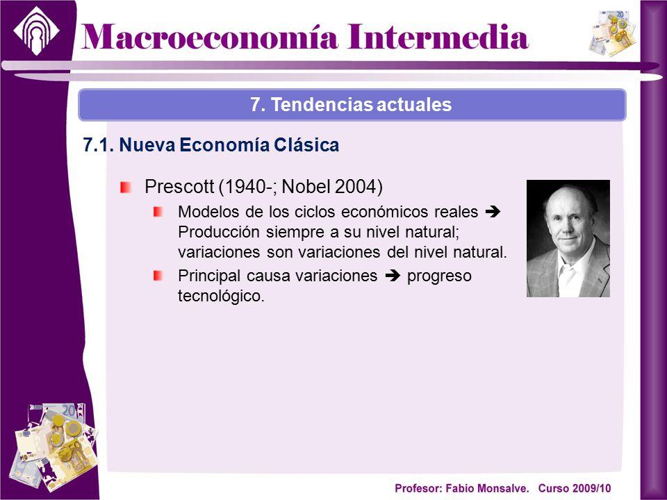 Prescott (1940-; Nobel 2004) Modelos de los ciclos económicos reales  Producción siempre a su nivel natural; variaciones son variaciones del nivel na