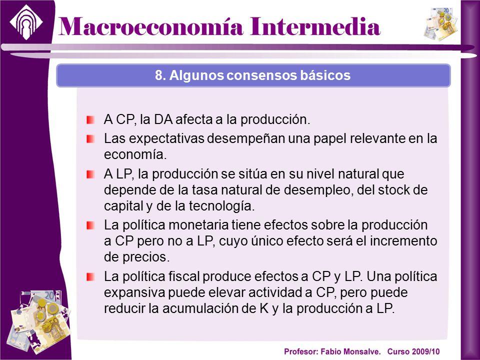 A CP, la DA afecta a la producción. Las expectativas desempeñan una papel relevante en la economía. A LP, la producción se sitúa en su nivel natural q