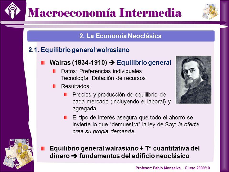 Walras (1834-1910)  Equilibrio general Datos: Preferencias individuales, Tecnología, Dotación de recursos Resultados: Precios y producción de equilib