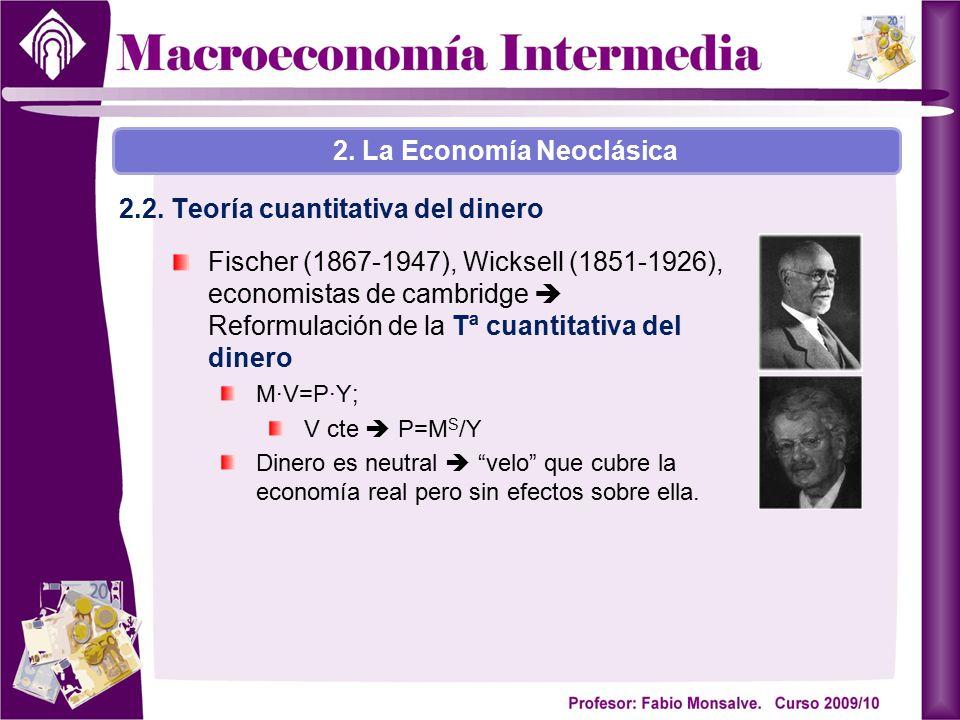 Fischer (1867-1947), Wicksell (1851-1926), economistas de cambridge  Reformulación de la Tª cuantitativa del dinero M·V=P·Y; V cte  P=M S /Y Dinero