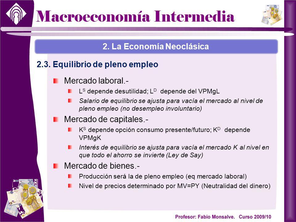 Mercado laboral.- L S depende desutilidad; L D depende del VPMgL Salario de equilibrio se ajusta para vacía el mercado al nivel de pleno empleo (no de