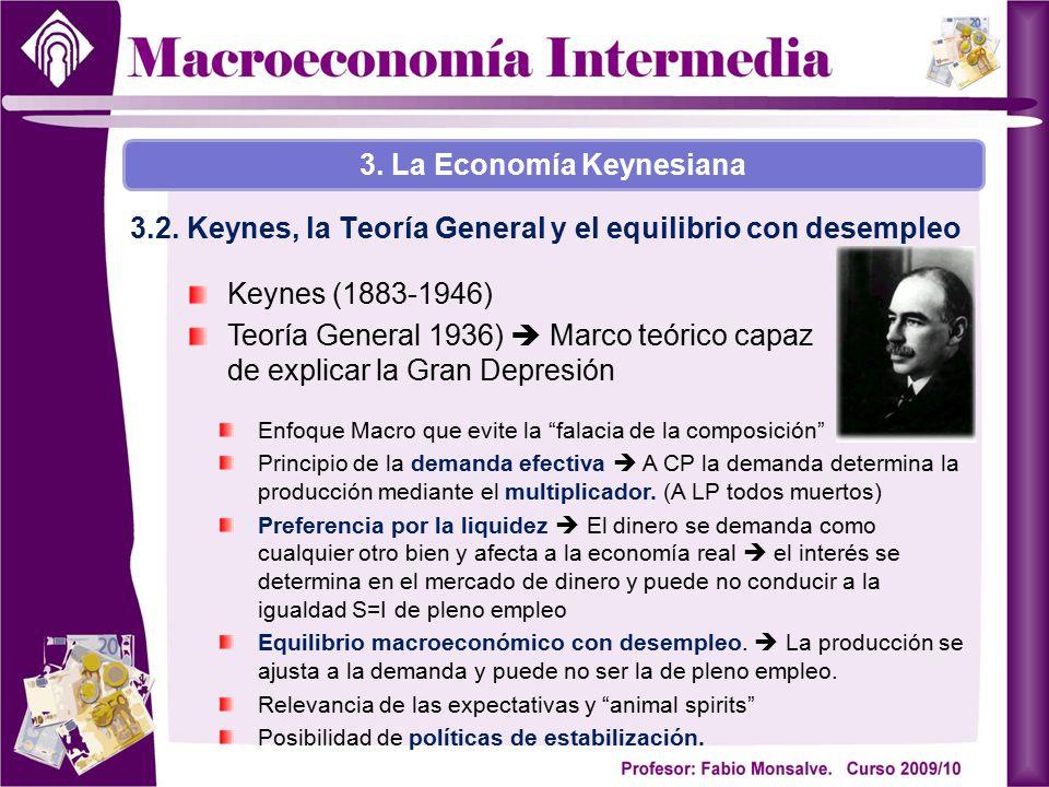 Keynes (1883-1946) Teoría General 1936)  Marco teórico capaz de explicar la Gran Depresión 3. La Economía Keynesiana 3.2. Keynes, la Teoría General y