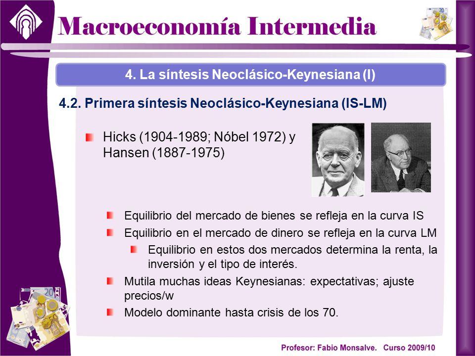 Hicks (1904-1989; Nóbel 1972) y Hansen (1887-1975) 4. La síntesis Neoclásico-Keynesiana (I) 4.2. Primera síntesis Neoclásico-Keynesiana (IS-LM) Equili