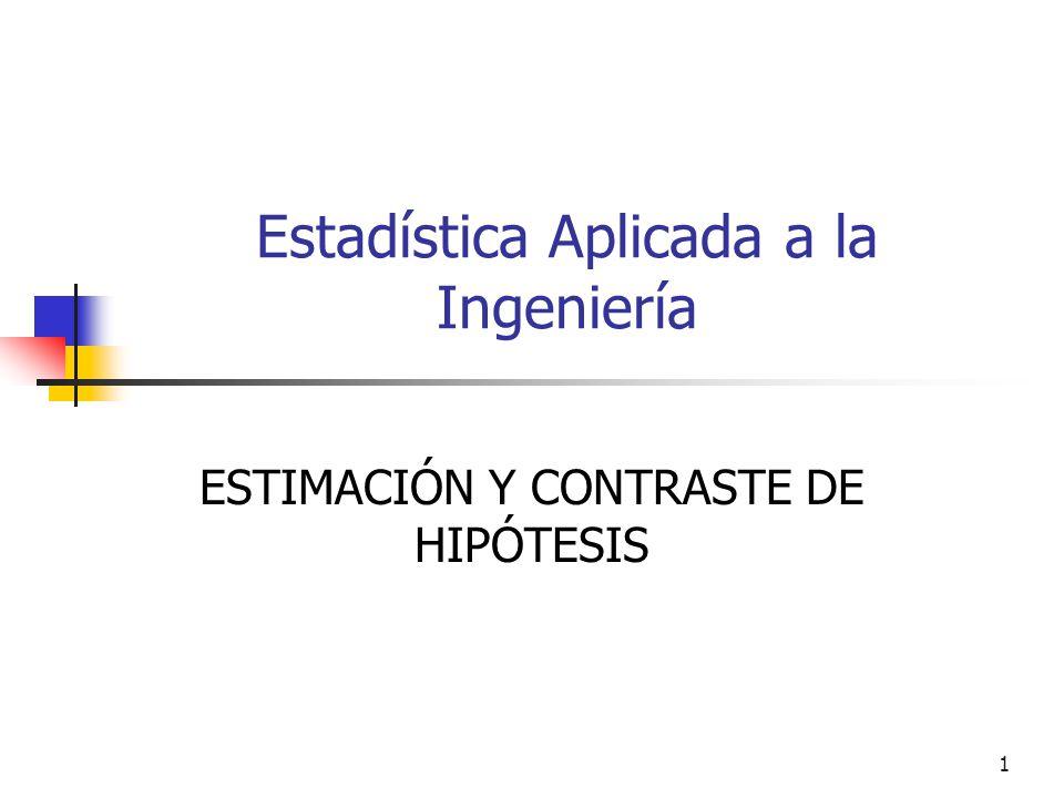 1 Estadística Aplicada a la Ingeniería ESTIMACIÓN Y CONTRASTE DE HIPÓTESIS