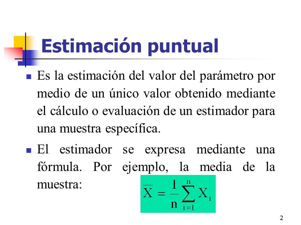 2 Estimación puntual Es la estimación del valor del parámetro por medio de un único valor obtenido mediante el cálculo o evaluación de un estimador pa