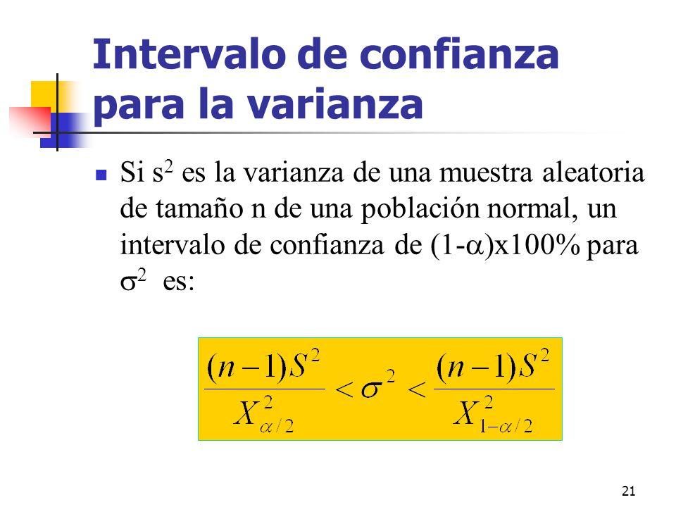 21 Intervalo de confianza para la varianza Si s 2 es la varianza de una muestra aleatoria de tamaño n de una población normal, un intervalo de confian