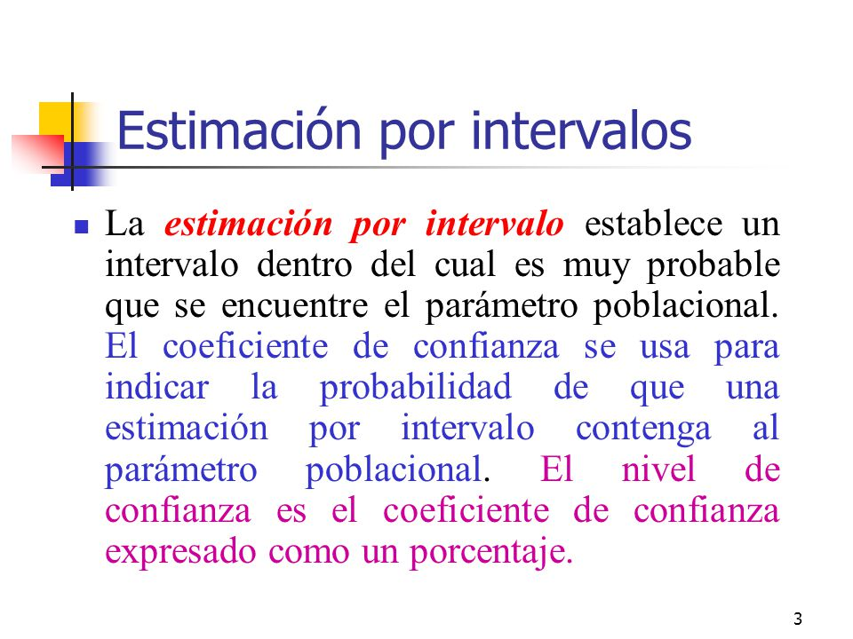 3 Estimación por intervalos La estimación por intervalo establece un intervalo dentro del cual es muy probable que se encuentre el parámetro poblacion