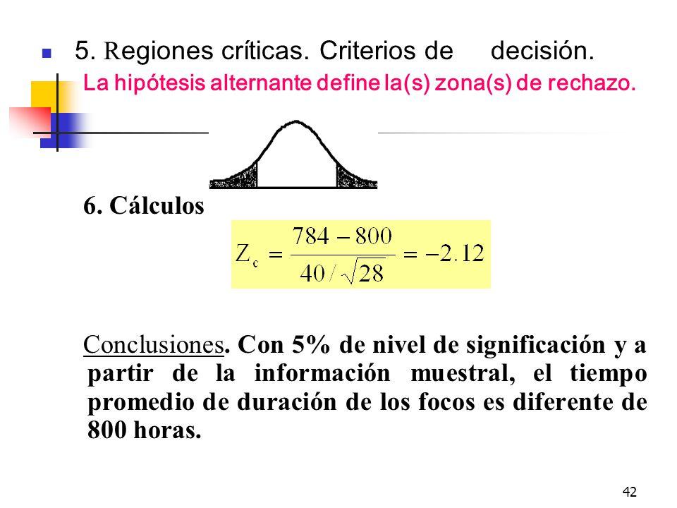 42 5. R egiones críticas. Criterios de decisión. La hipótesis alternante define la(s) zona(s) de rechazo. 6. Cálculos Conclusiones. Con 5% de nivel de