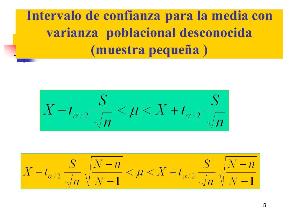 8 Intervalo de confianza para la media con varianza poblacional desconocida (muestra pequeña )
