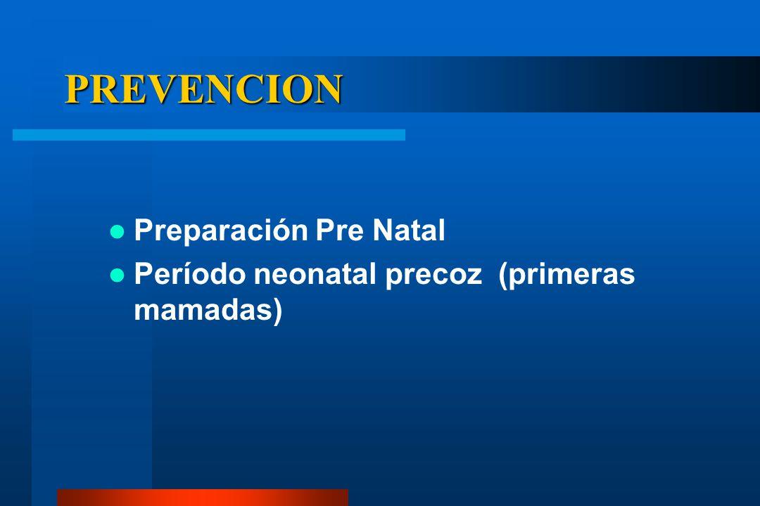 PREVENCION Preparación Pre Natal Período neonatal precoz (primeras mamadas)