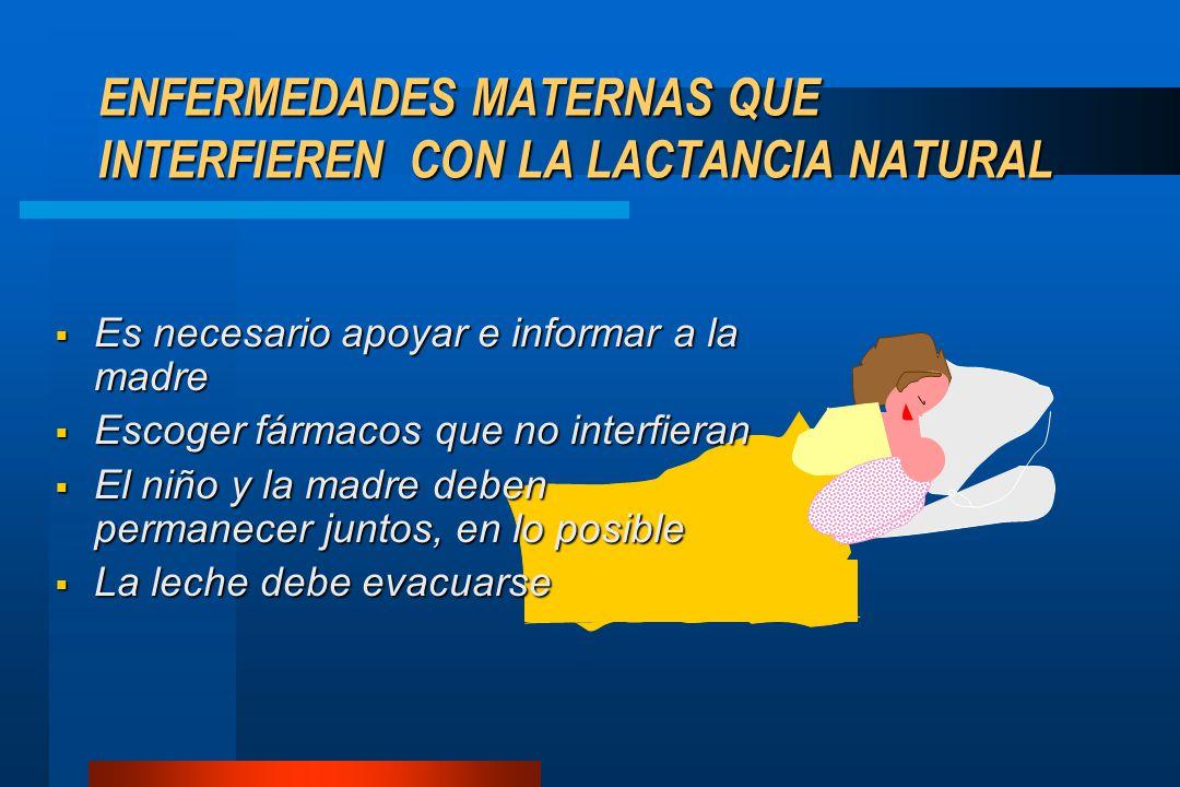 ENFERMEDADES MATERNAS QUE INTERFIEREN CON LA LACTANCIA NATURAL  Es necesario apoyar e informar a la madre  Escoger fármacos que no interfieran  El