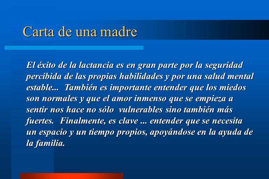 Carta de una madre El éxito de la lactancia es en gran parte por la seguridad percibida de las propias habilidades y por una salud mental estable... T