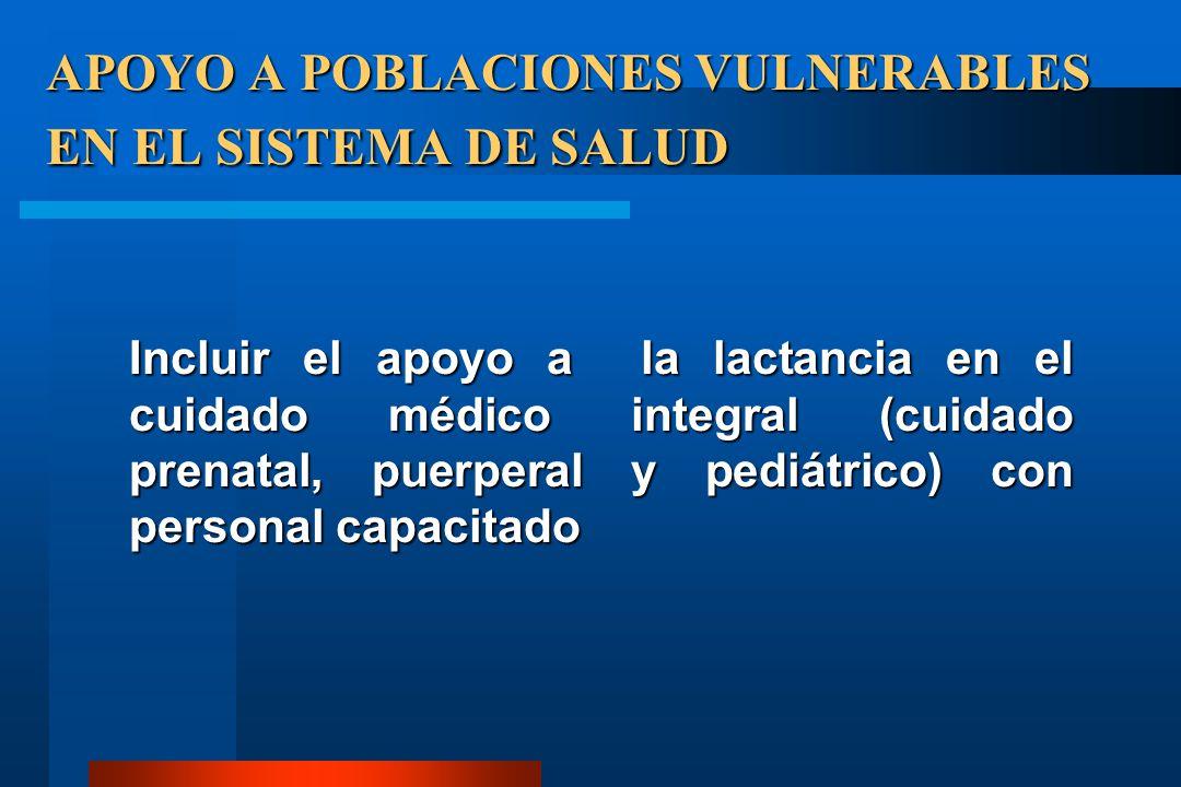 APOYO A POBLACIONES VULNERABLES EN EL SISTEMA DE SALUD Incluir el apoyo a la lactancia en el cuidado médico integral (cuidado prenatal, puerperal y pe