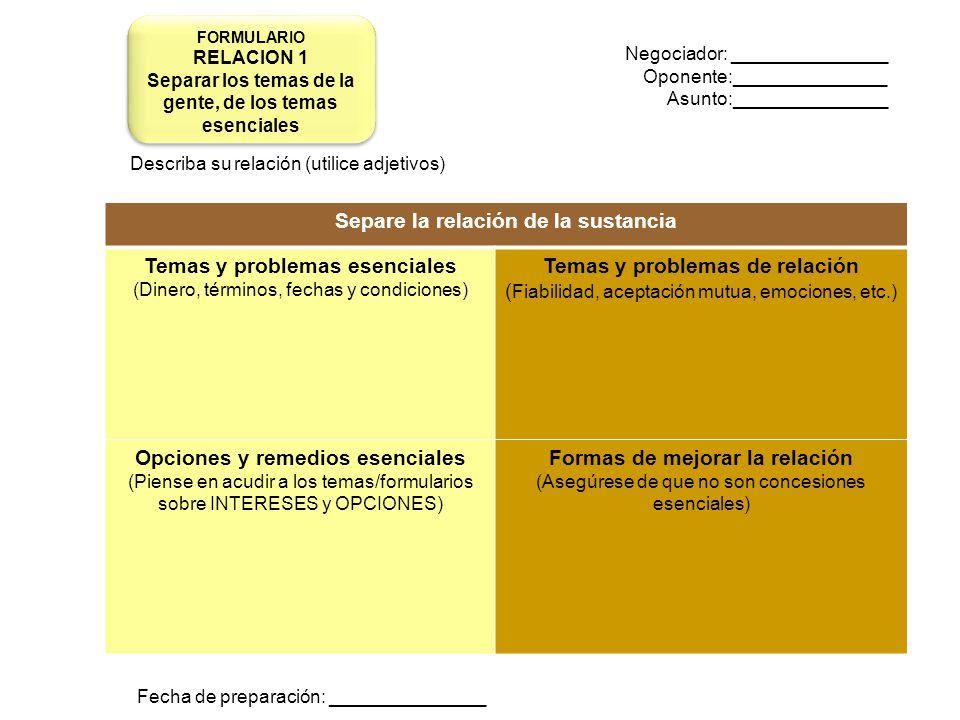 Negociador: _______________ Oponente:_______________ Asunto:_______________ Describa su relación (utilice adjetivos) Fecha de preparación: ___________