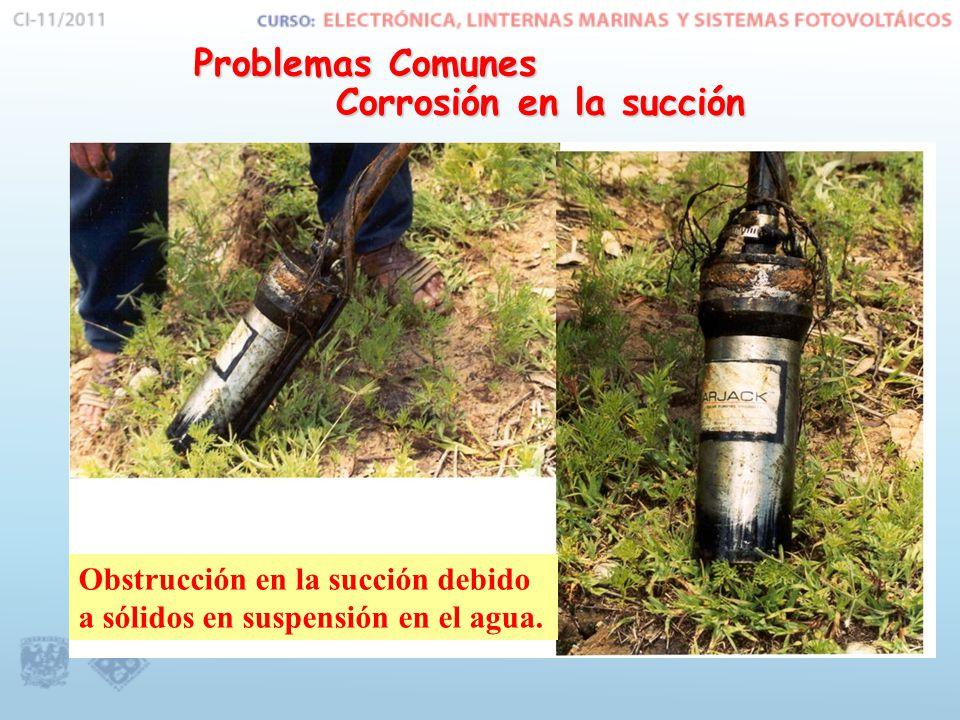 Problemas Comunes Corrosión en la succión Obstrucción en la succión debido a sólidos en suspensión en el agua.