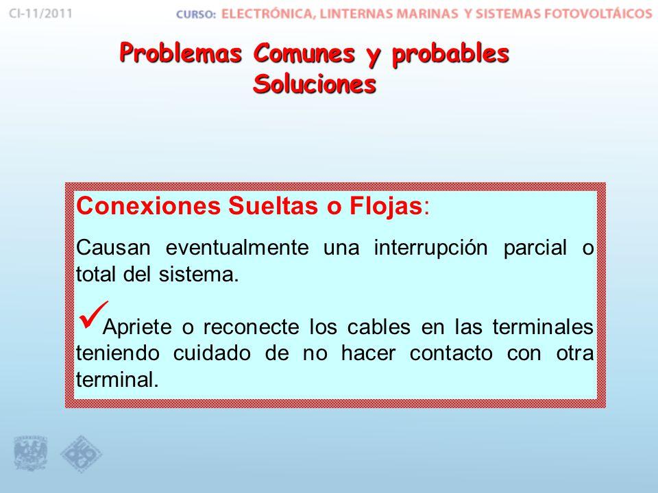 Conexiones Sueltas o Flojas: Causan eventualmente una interrupción parcial o total del sistema.