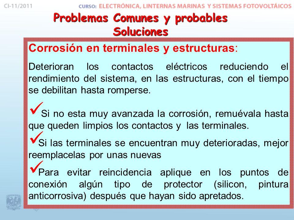 Corrosión en terminales y estructuras: Deterioran los contactos eléctricos reduciendo el rendimiento del sistema, en las estructuras, con el tiempo se debilitan hasta romperse.