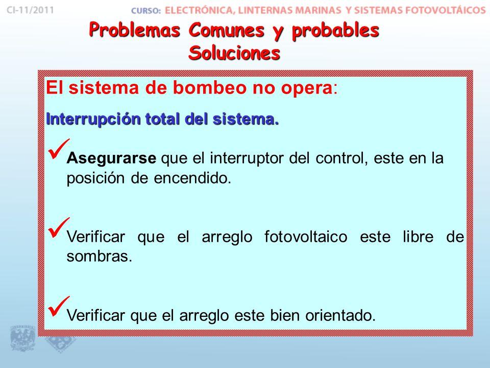 El sistema de bombeo no opera: Interrupción total del sistema.