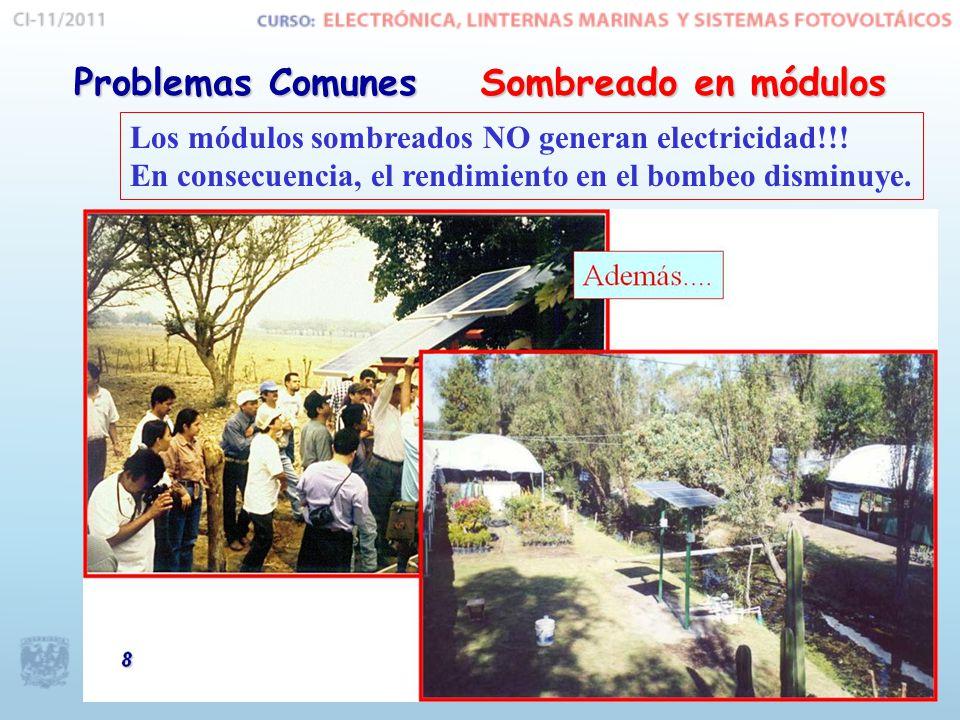 Sombreado en módulos Problemas Comunes Los módulos sombreados NO generan electricidad!!.