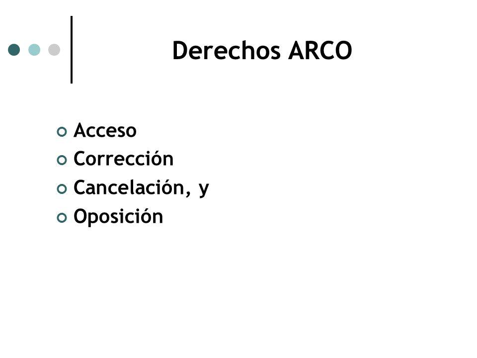 Derechos ARCO Acceso Corrección Cancelación, y Oposición