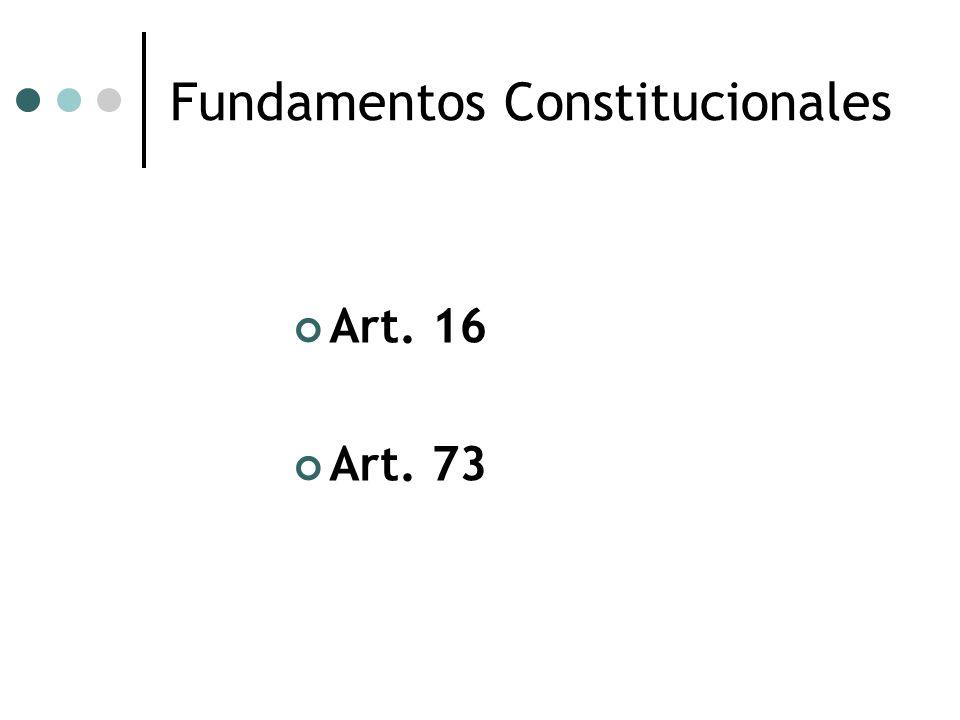 Fundamentos Constitucionales Art. 16 Art. 73