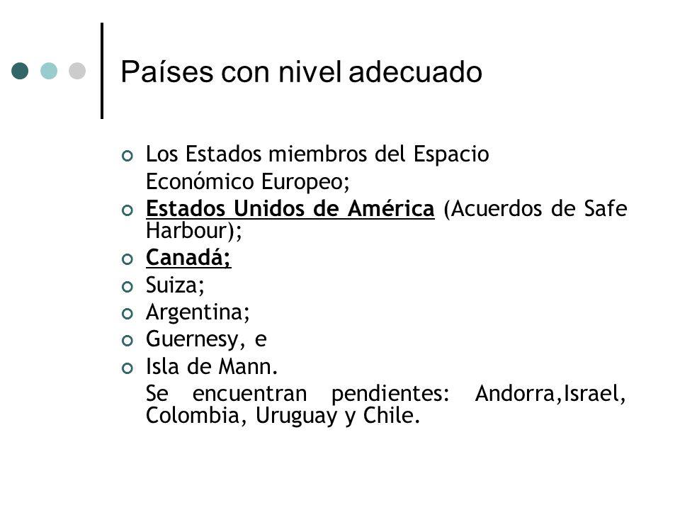 Países con nivel adecuado Los Estados miembros del Espacio Económico Europeo; Estados Unidos de América (Acuerdos de Safe Harbour); Canadá; Suiza; Argentina; Guernesy, e Isla de Mann.