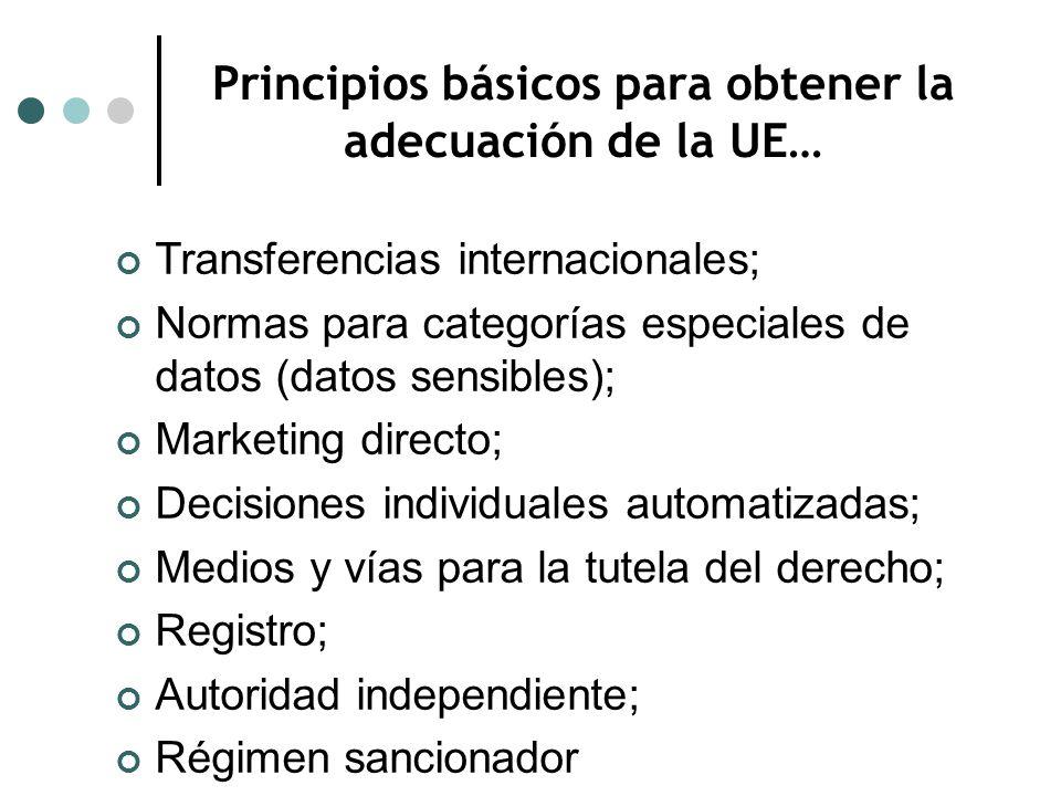 Principios básicos para obtener la adecuación de la UE… Transferencias internacionales; Normas para categorías especiales de datos (datos sensibles); Marketing directo; Decisiones individuales automatizadas; Medios y vías para la tutela del derecho; Registro; Autoridad independiente; Régimen sancionador