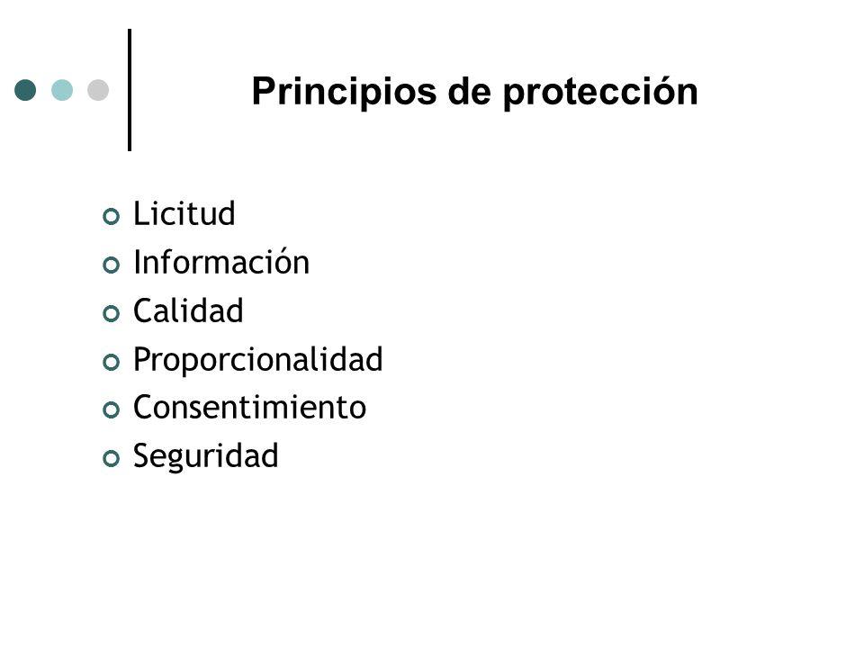 Principios de protección Licitud Información Calidad Proporcionalidad Consentimiento Seguridad