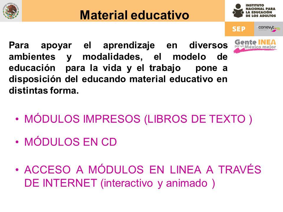 Material educativo Para apoyar el aprendizaje en diversos ambientes y modalidades, el modelo de educación para la vida y el trabajo pone a disposición del educando material educativo en distintas forma.